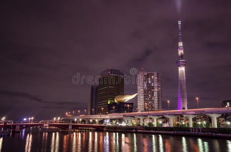 Download Tokyo skytree nachts stockfoto. Bild von sendung, mond - 27735424