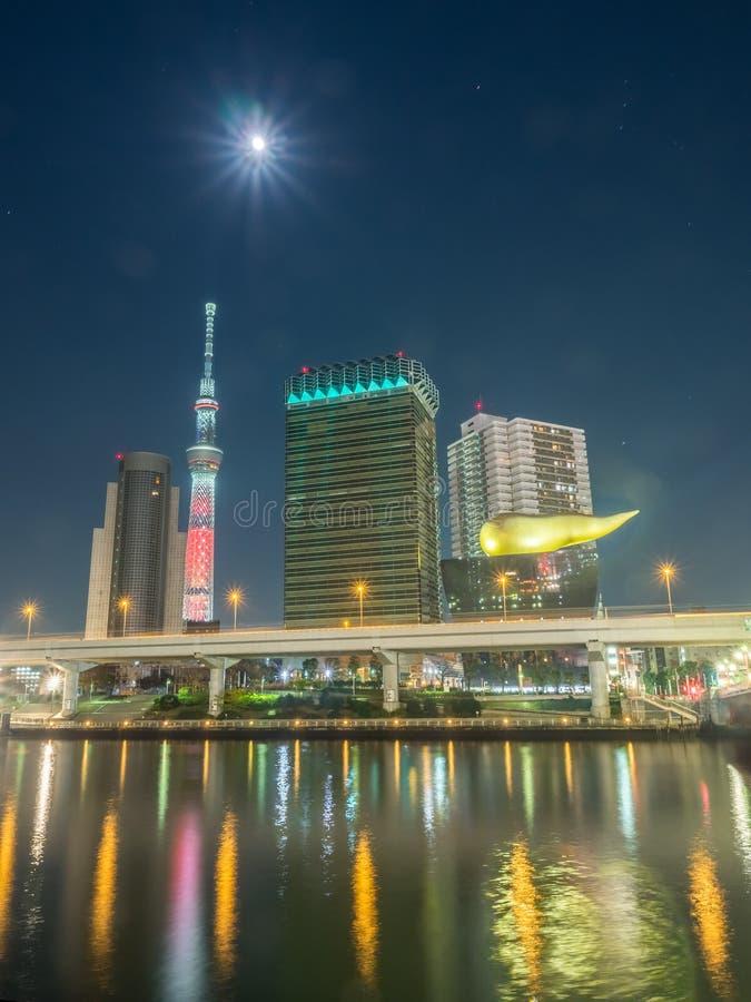 Tokyo Skytree nella vista della luce notturna fotografie stock libere da diritti