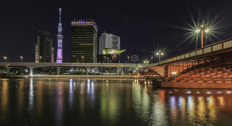 Tokyo skytree at night stock images