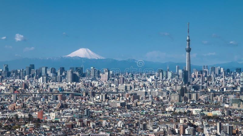 Tokyo Skytree och Mt Fuji arkivfoton