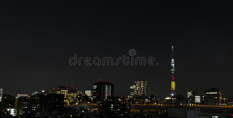 Tokyo skytree tower in Janpan in night light with brigde and building. TOKYO ,JAPAN - OCTOBER 12: Tokyo skytree tower in Janpan in night light , OCT 12,2016 stock images