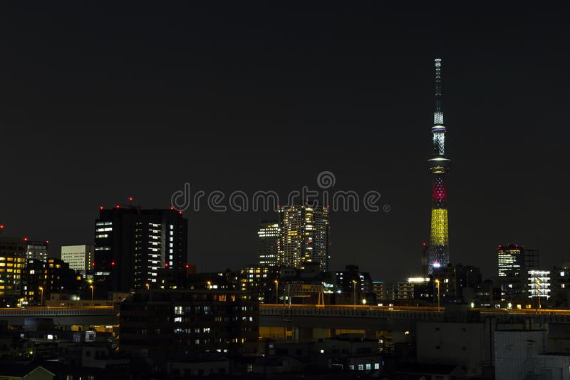 Tokyo skytree tower in Janpan in night light with brigde and building. TOKYO ,JAPAN - OCTOBER 12: Tokyo skytree tower in Janpan in night light , OCT 12,2016 stock photo