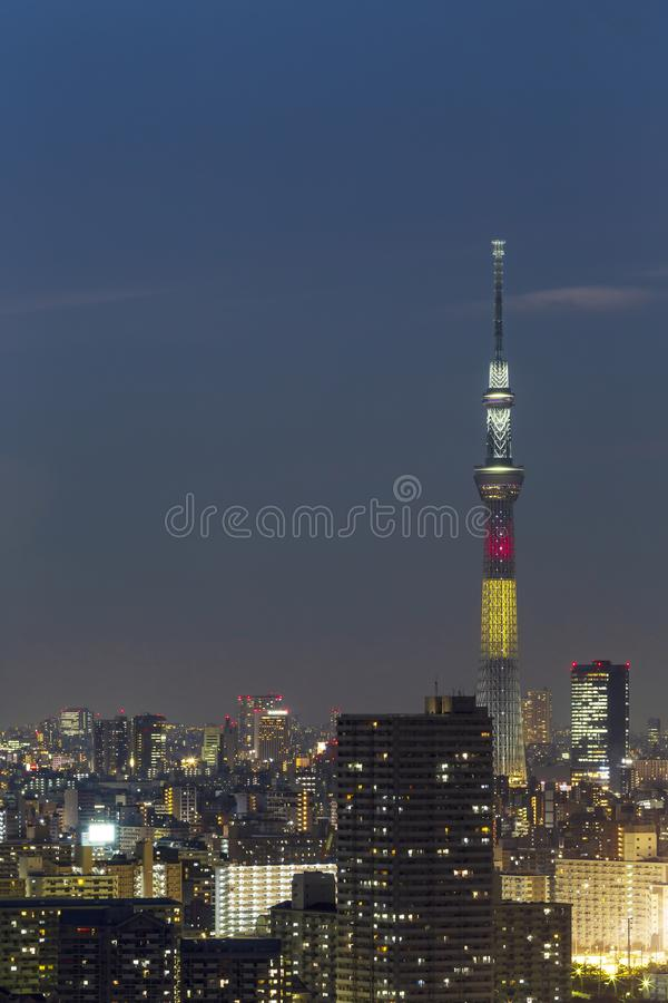 Tokyo skytree tower in Janpan in night light with brigde and building. TOKYO ,JAPAN - OCTOBER 12: Tokyo skytree tower in Janpan at twilight, OCT 12,2016, Tokyo stock image