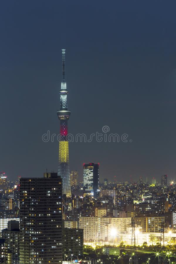 Tokyo skytree tower in Janpan in night light with brigde and building. TOKYO ,JAPAN - OCTOBER 12: Tokyo skytree tower in Janpan at twilight, OCT 12,2016, Tokyo royalty free stock image
