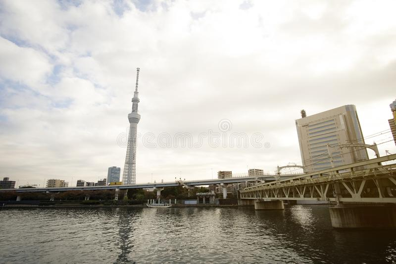 Tokyo Skytree Tower with Japan skyline on the sumida river royalty free stock images