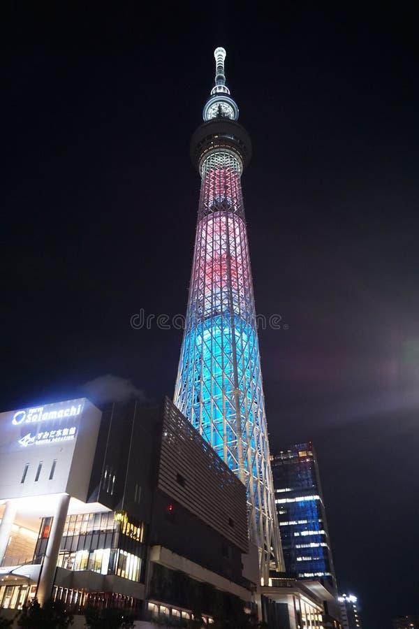 Tokyo skytreetorn på natten royaltyfria foton