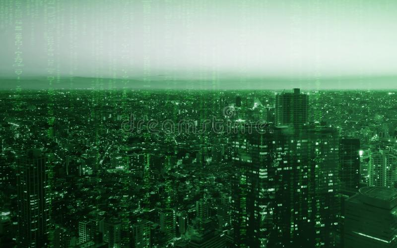 Tokyo stad av ljus byggnad med datoren som kodifierar textur för teknologi royaltyfria foton