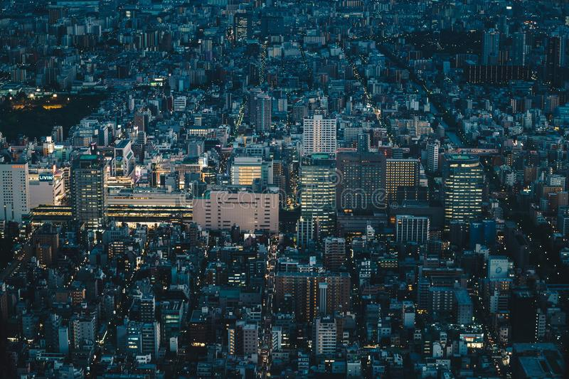 Tokyo stadshorisont på natten som sett från över Flyg- photograp arkivbild