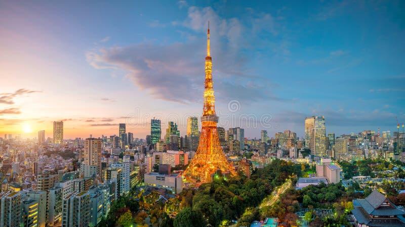 Tokyo-Stadtansicht mit Tokyo-Turm lizenzfreie stockfotografie