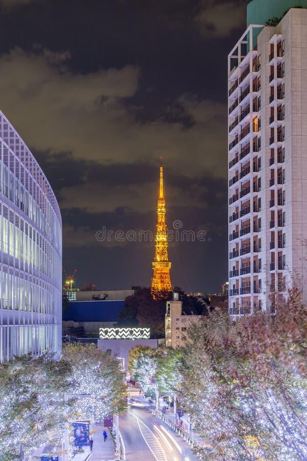 Tokyo-Stadtansicht mit Tokyo-Turm stockbild