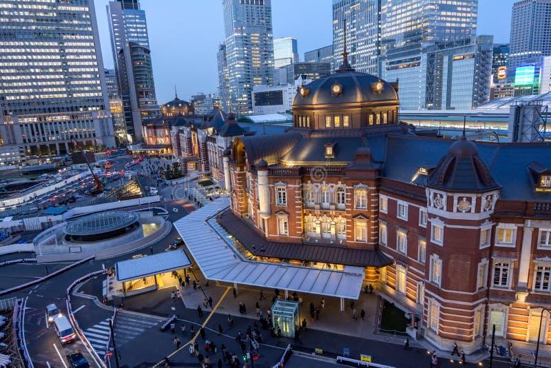 Tokyo-Station bei Sonnenuntergang lizenzfreie stockbilder