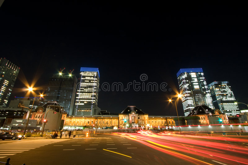 Tokyo station by night royalty free stock photography