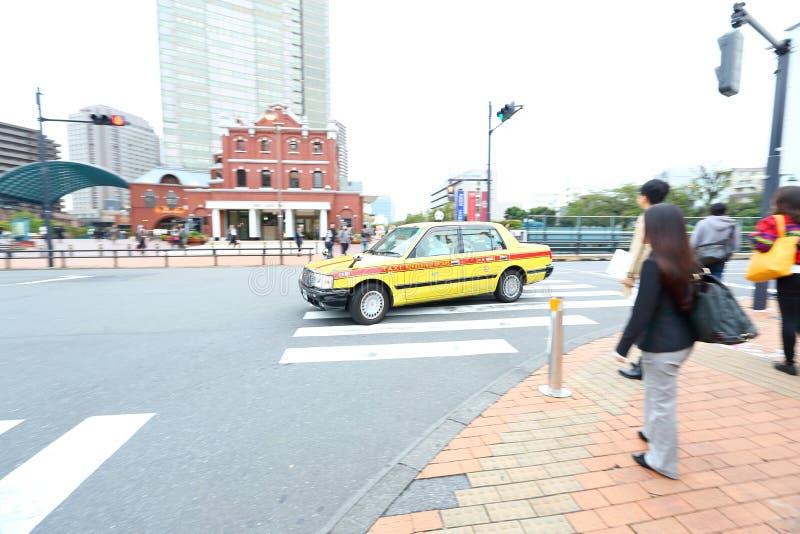 Tokyo: Taxi op de weg royalty-vrije stock afbeeldingen