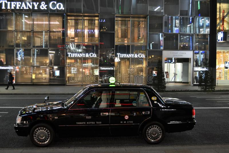 Tokyo taxi Tiffany shop Ginza stock images