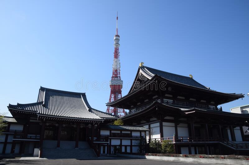 Tokyo Tower Behind Black and White Dojo Building during Daytime royalty free stock image