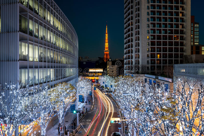 Tokyo Tower with Christmas illumination at Roppongi royalty free stock photo