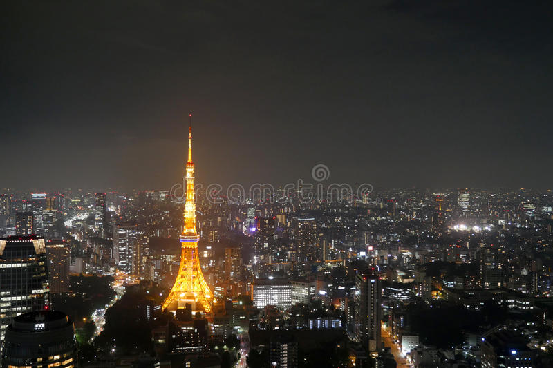 Tokyo Tower, Japan. Night view of Tokyo Tower stock photo