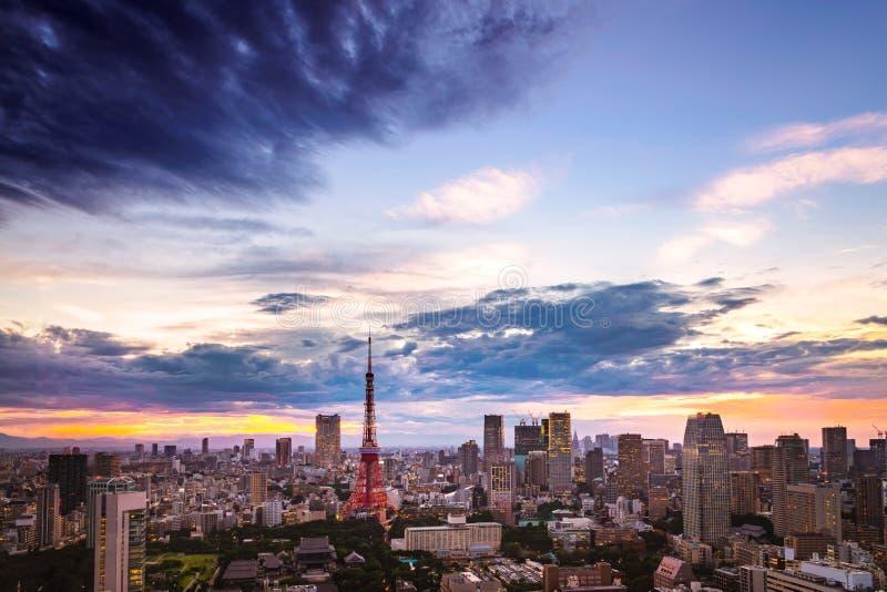 Tokyo tower, landmark of Japan and skyline of tokyo city with sun set /sun rise sky background in winter season, Tokyo, Japan royalty free stock image