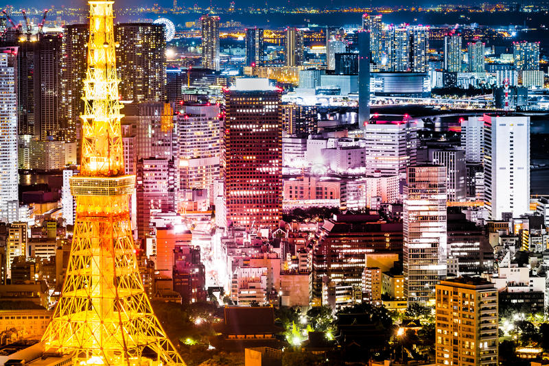 Tokyo tower night view from Roppongi hills stock photos