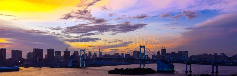 Tokyo Tower Rainbow bridge Japan panorama royalty free stock image