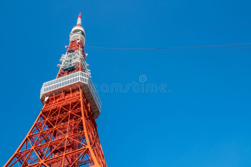 Tokyo Tower under clear blue sky, Japan stock photos