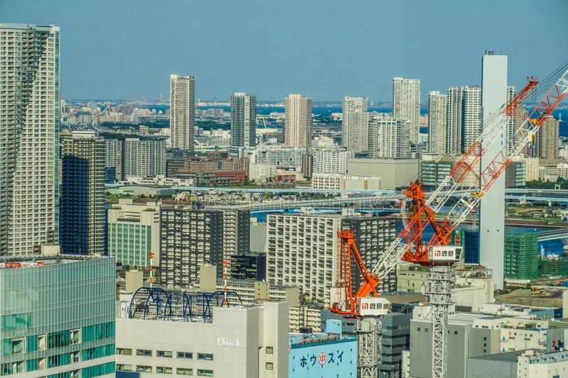 Tokyo townscape seen from the World Trade Center Seaside top. Shooting location :  Tokyo metropolitan area royalty free stock image