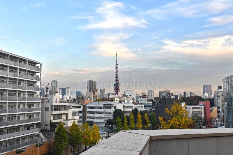 Tokyo Urban Cityscape with Tokyo Tower stock photography