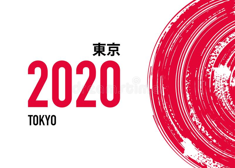 Tokyo 2020 Vector Background. The Summer Games in Japan. Sport Event Logo Design in Japanese Calligraphy Style. Tokyo 2020 Vector Background. The Summer Games vector illustration