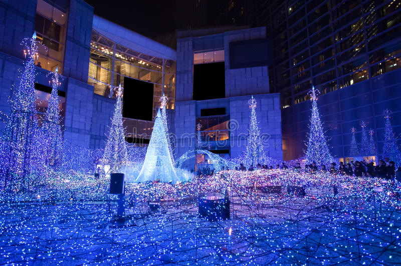 Tokyo-Weihnachten- und -Wintersaison Beleuchtungen stockbild
