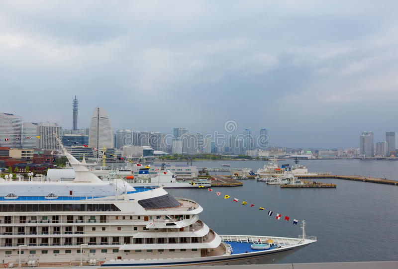 Tokyo. Yokohama port. In Tokyo there are two cruise terminal. Cruise port in Yokohama is the main for the Japanese capital, because there is much more cruise stock photo