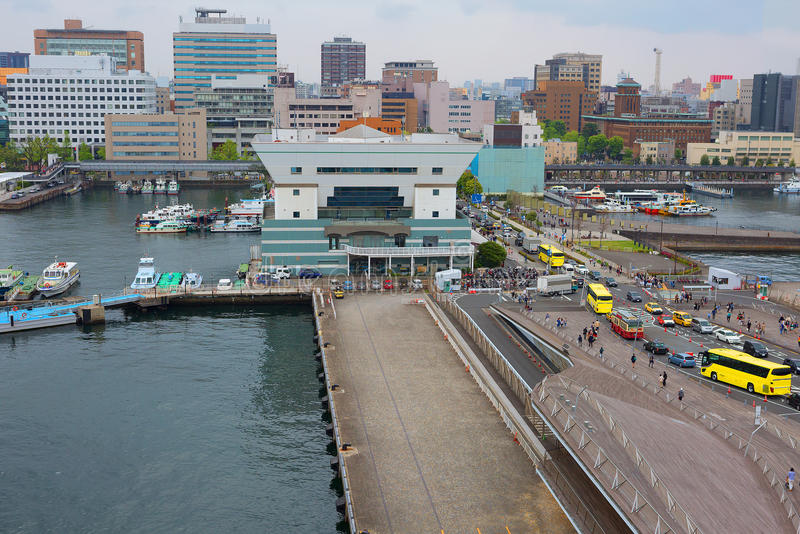 Tokyo. Yokohama port. In Tokyo there are two cruise terminal. Cruise port in Yokohama is the main for the Japanese capital, because there is much more cruise royalty free stock image