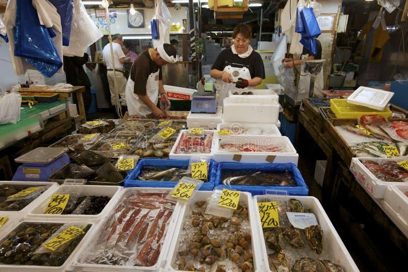 Tokyos Tsukiji Meerestier-Fischmarkt stockbild