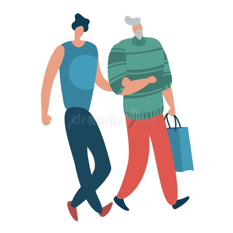 Tolérance et amour Couples masculins de lgbt, belles personnes d'homosexuels bisexuels d'hommes être vous-même concept de vecteur illustration libre de droits