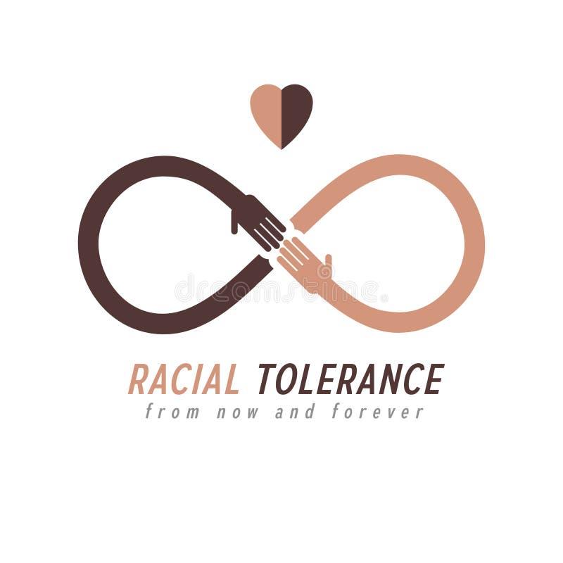 Tolérance raciale entre le symbole conceptuel de différentes nations, mA illustration stock