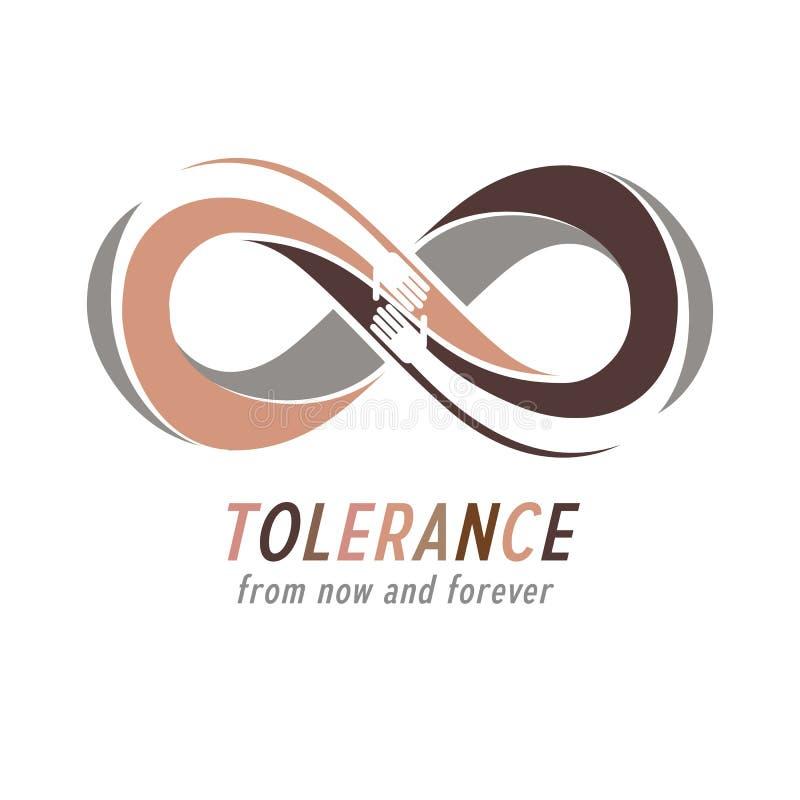 Tolérance raciale entre le symbole conceptuel de différentes nations, mA illustration de vecteur