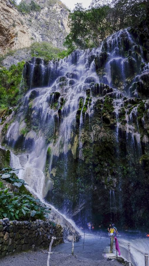 Big waterfall at Thermal hot springs Grutas de Tolantongo , in Mexico state royalty free stock images