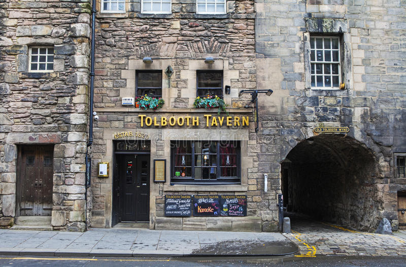 Tolbooth Tavern in Edinburgh. EDINBURGH, SCOTLAND - MARCH 9TH 2016: A view of the historic Tolbooth Tavern situated along Canongate on the Royal Mile in royalty free stock photo