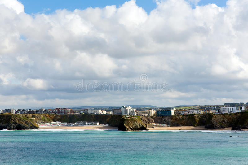 Tolcarne and Great Western beaches Newquay Cornwall UK stock photos