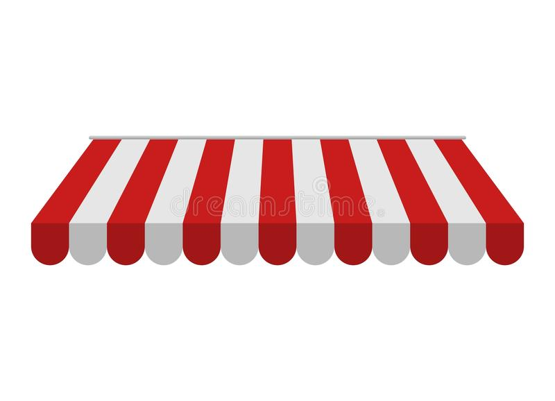 Toldo aislado en el fondo blanco Sombrilla roja y blanca rayada para las tiendas, libre illustration