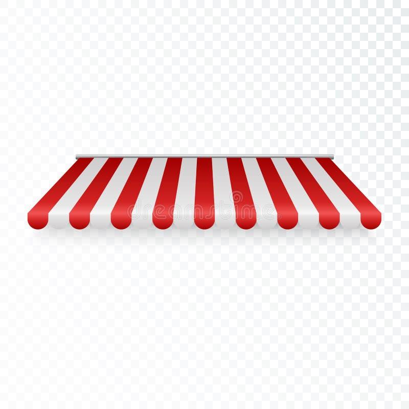 Toldo al aire libre Tejado rayado de la tienda o de la materia textil para la tienda al por menor Sombrilla roja y blanca Ilustra ilustración del vector