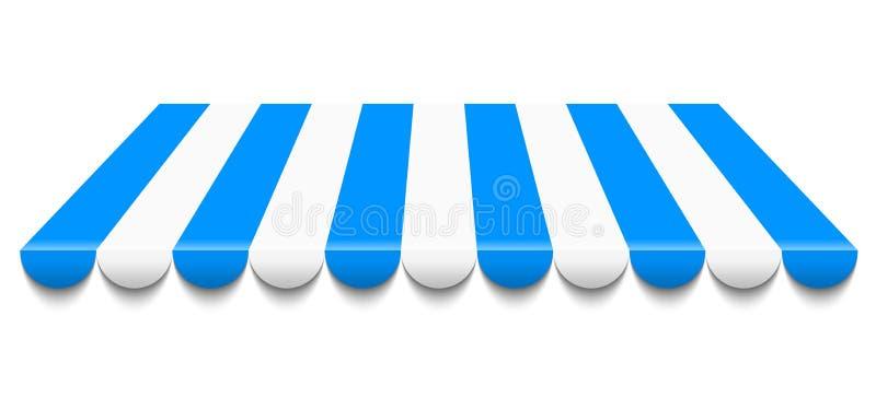 Toldo azul y blanco ilustración del vector