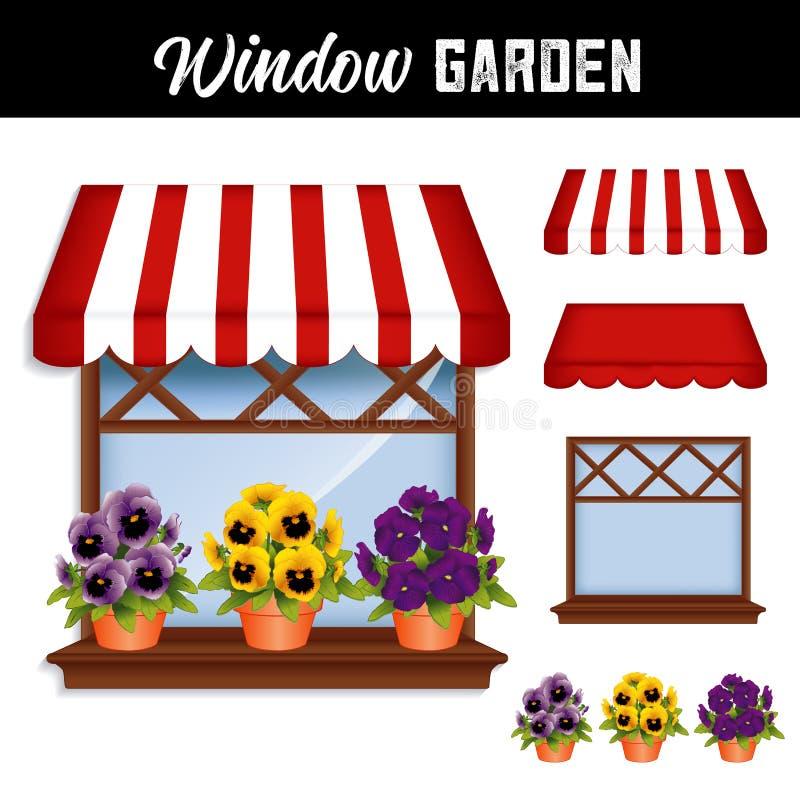 Toldo del jardín de flores, de los pensamientos, rojo y blanco de la ventana ilustración del vector