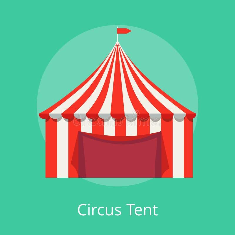 Toldo listrado do cartaz da tenda do circus para desempenhos ilustração royalty free