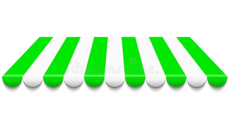 Toldo verde y blanco stock de ilustración