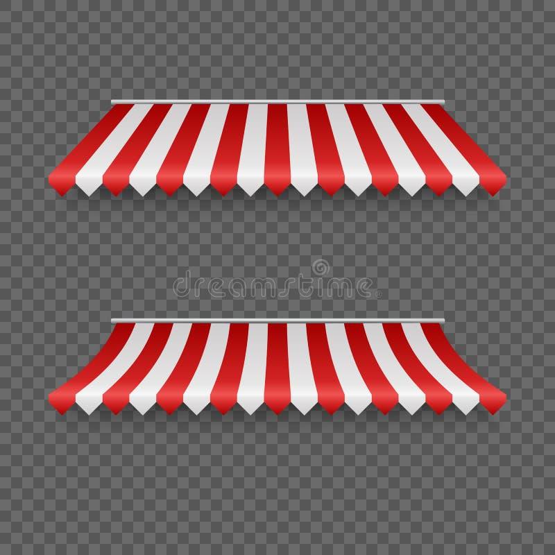 Toldos al aire libre Tiendas o tejado rayadas de la materia textil para el mercado Sombrilla roja y blanca Ilustraci?n del vector libre illustration