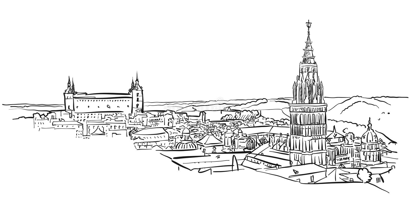 Toledo Ancient Panorama Wall Art royalty free illustration