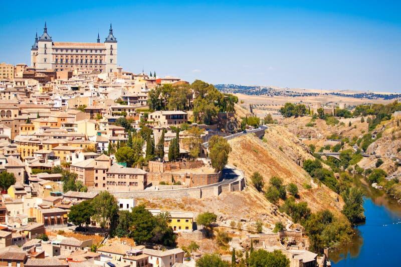 Toledo. Beautiful view to Alkazar and river Tajo in Toledo, Spain stock photos