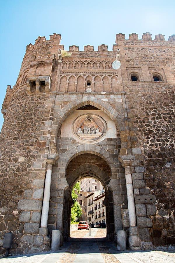 Toledo, Castilla-La Mancha, Spain. Old medieval town city skyline. Puerta del Sol.  stock photography