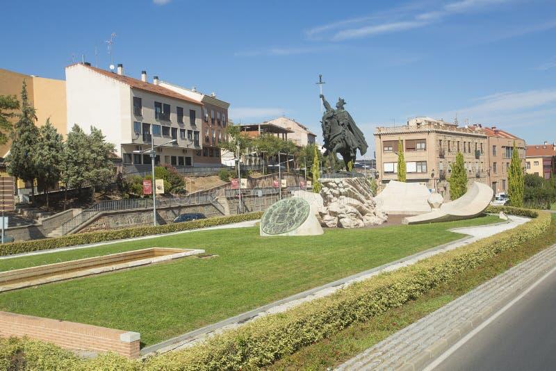 Toledo, Castilla La Mancha/Spanje 19 oktober, 2017 Bronsbeeldhouwwerk van Koning Alfonso VI Gr Bravo, die de stad binnen heroverd royalty-vrije stock fotografie