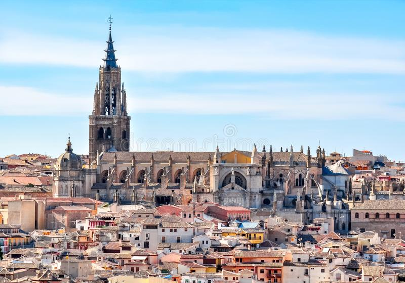 Toledo Cathedral above old town roofs, Spain stock photos